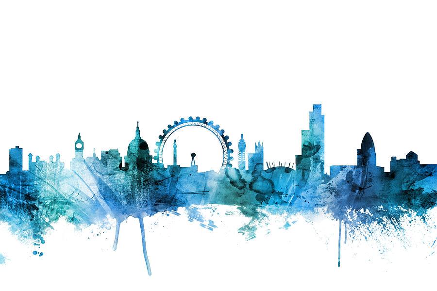 London Digital Art - London England Skyline by Michael Tompsett