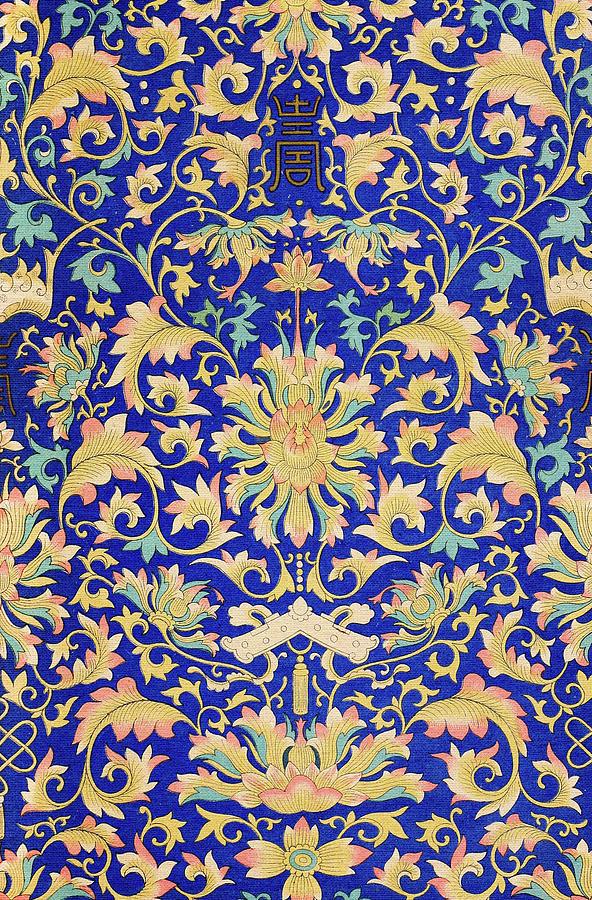 Bohemian Flower Patterns Vintage Chinese Illustrations Wall Art Impressive Asian Patterns