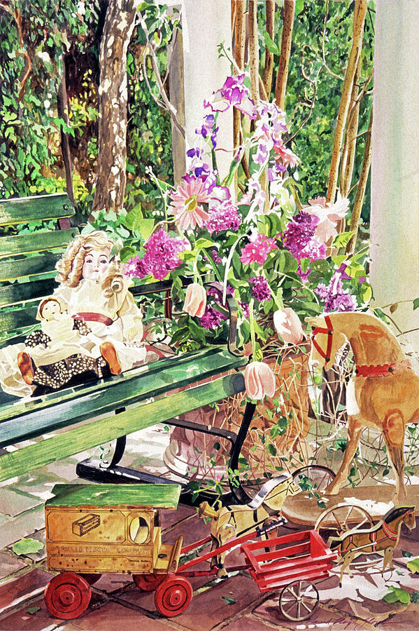 Still Life Painting - Rocking Horse, Dolls And Lilacs by David Lloyd Glover