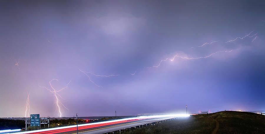 Lightning Photograph - 47 Street Lightning Storm Light Trails View Panorama 1 by James BO  Insogna