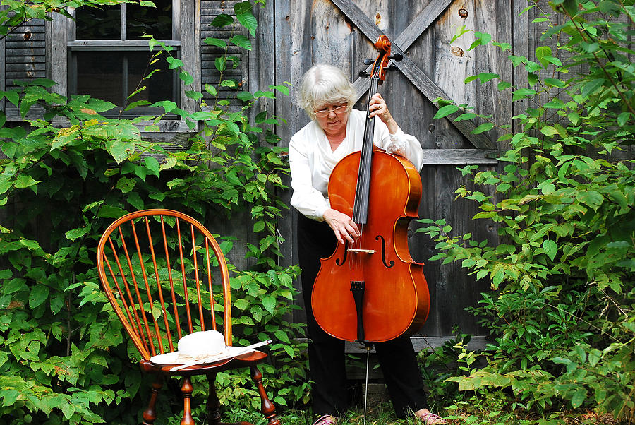 Mature Female Photograph - Female Cellist. by Oscar Williams