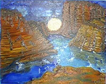 Moon in the Grand Canyon Painting by Tanna Lee Wells