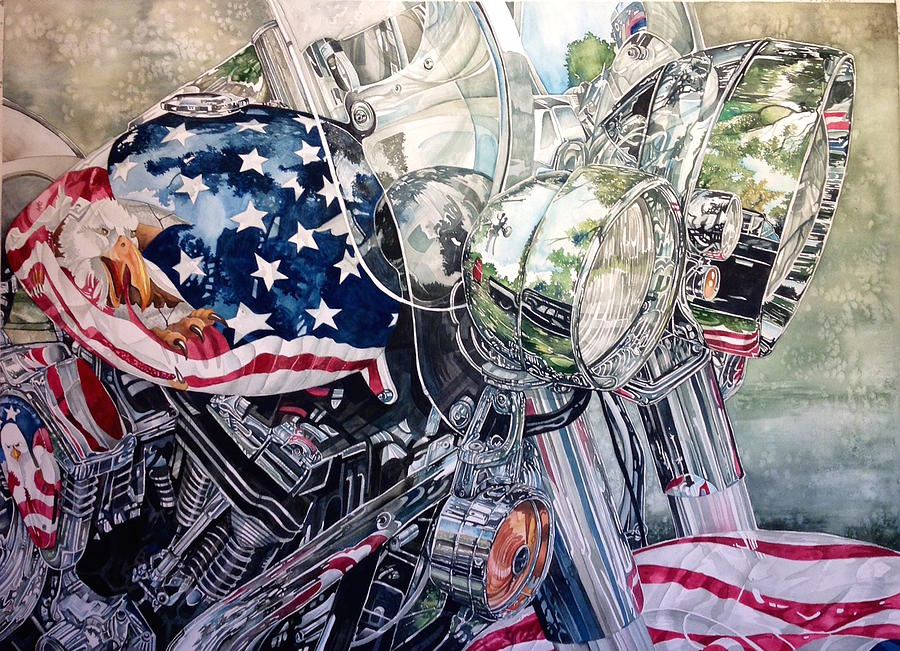 4th Of July Cycle Painting by Lance Wurst