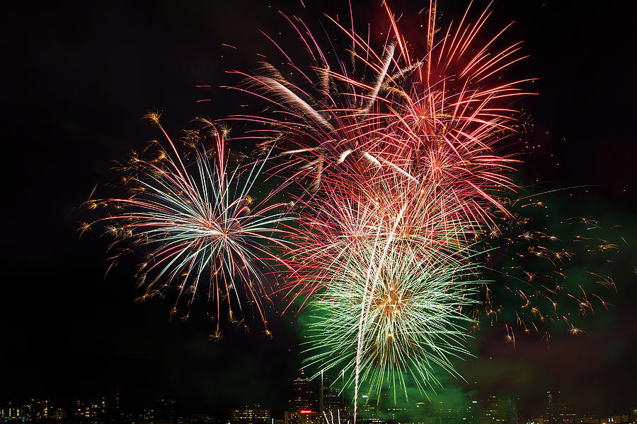 4th Photograph - 4th Of July Fireworks Display Portland Oregon by David Gn