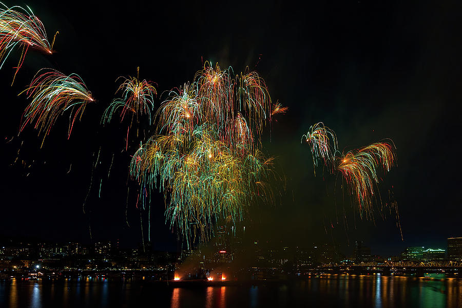 4th Photograph - 4th Of July Fireworks From The Barge Portland Oregon by David Gn