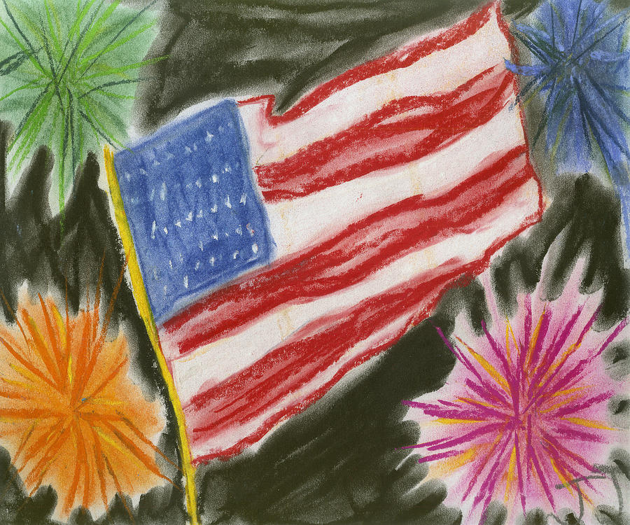 Usa. Patriotic Painting - 4th Of July by Jessika and Art with a Heart In Healthcare