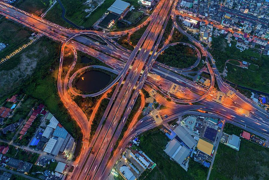 Transport Photograph - Aerial View Of Traffic Jams At Nonthaburi Intersection In The Evening, Bangkok. by Pradeep Raja PRINTS