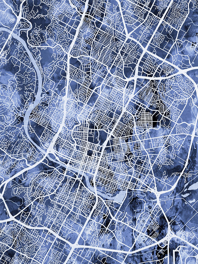 Austin Texas City Map Digital Art by Michael Tompsett