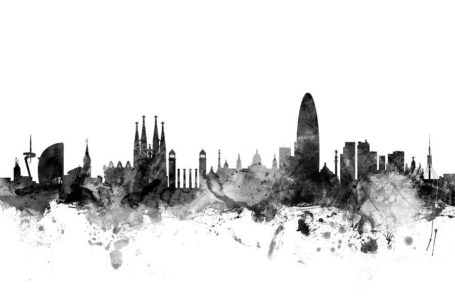 barcelona spain skyline digital art by michael tompsett. Black Bedroom Furniture Sets. Home Design Ideas