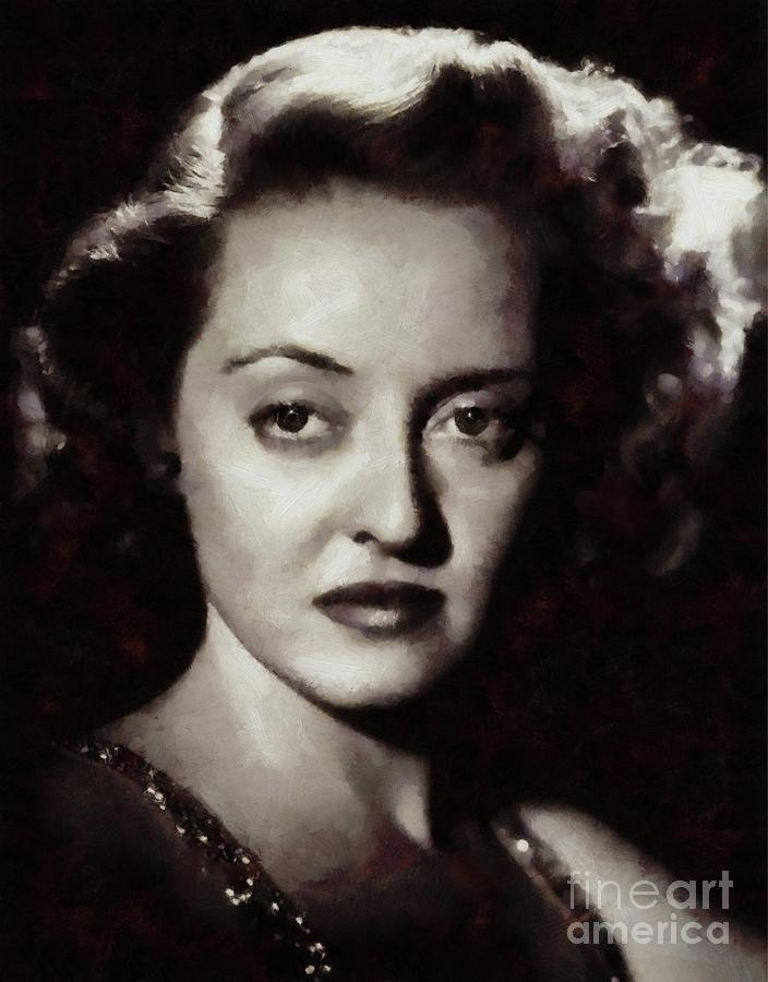 Bette Painting - Bette Davis Vintage Hollywood Actress by Mary Bassett