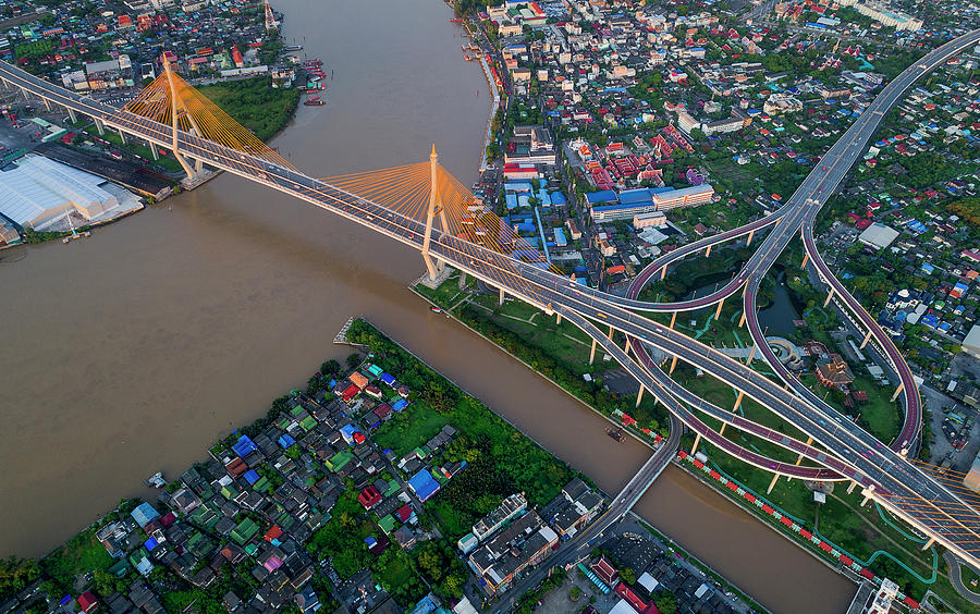 Bangkok Photograph - Bhumibol Bridge Aerial View At Sunrise by Pradeep Raja PRINTS