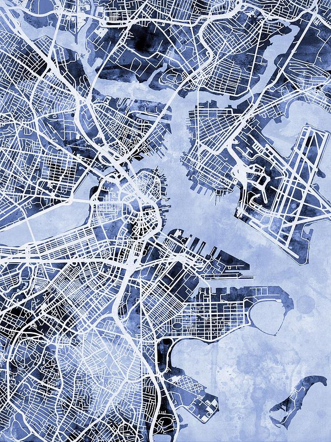 City Map Digital Art - Boston Massachusetts Street Map by Michael Tompsett