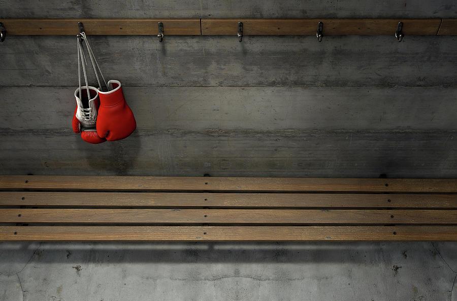 Gloves Digital Art - Boxing Gloves Hanging In Change Room 5 by Allan Swart