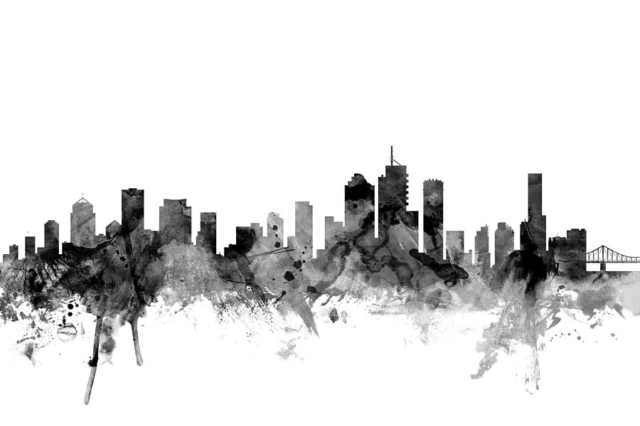 Brisbane digital art brisbane australia skyline by michael tompsett