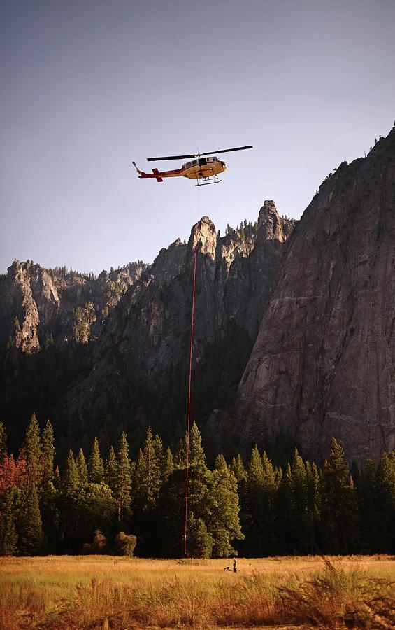Yosemite Photograph - Climber Rescue Operation In Yosemite by Nano Calvo