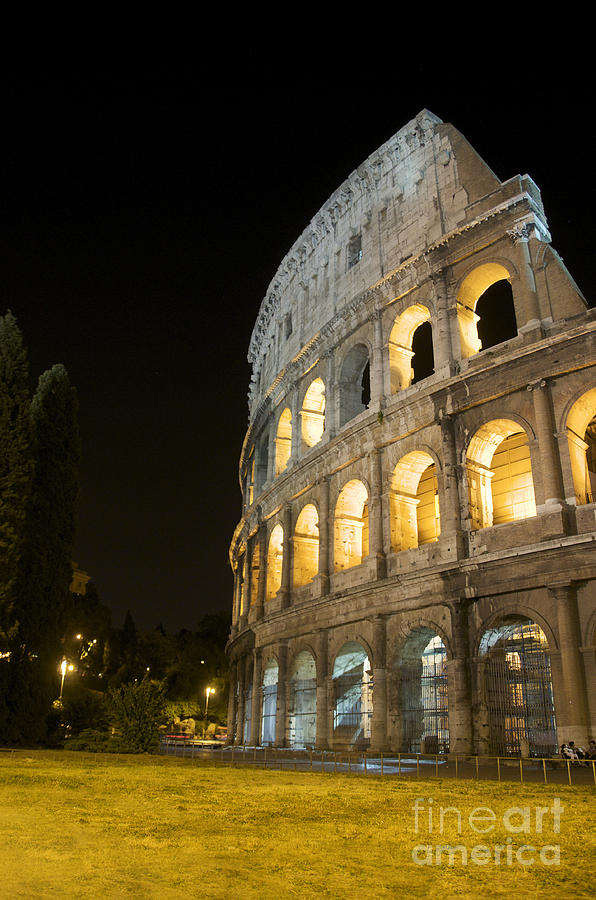 Worth Photograph - Coliseum Illuminated At Night. Rome by Bernard Jaubert