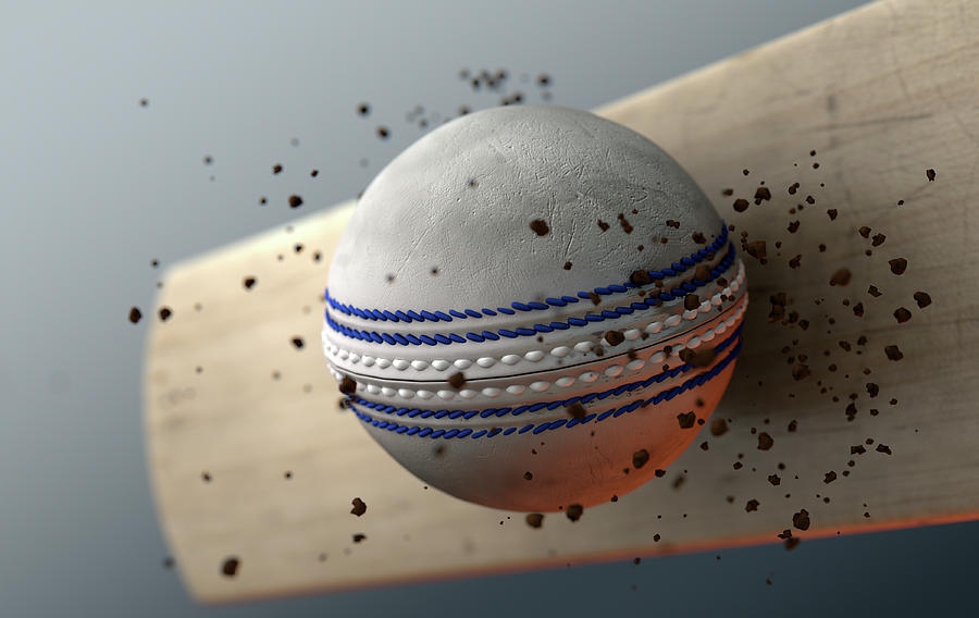 Strike Digital Art - Cricket Ball Striking Bat In Slow Motion by Allan Swart
