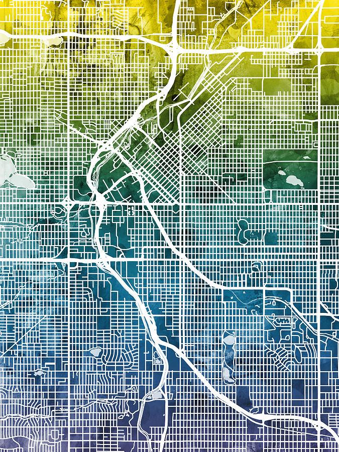 Colorado Map Art.Denver Colorado Street Map Digital Art By Michael Tompsett