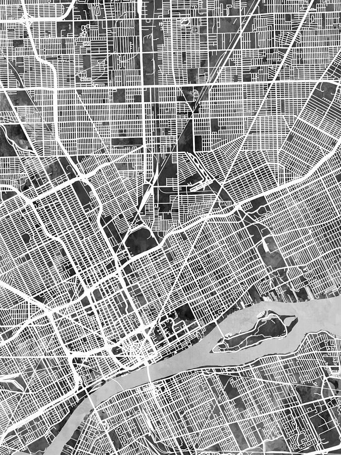 Detroit Digital Art - Detroit Michigan City Map by Michael Tompsett