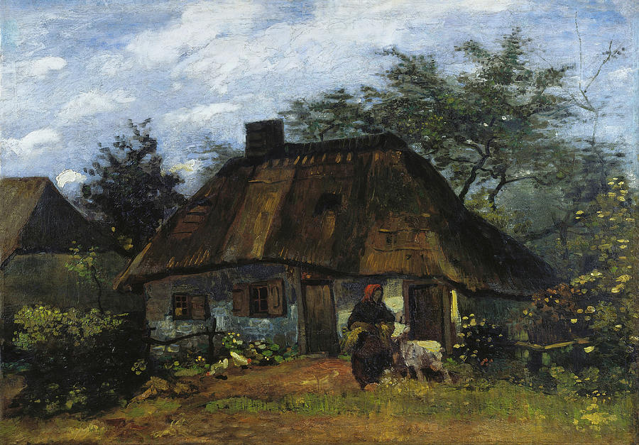 Cottage Painting - Farmhouse In Nuenen by Vincent van Gogh