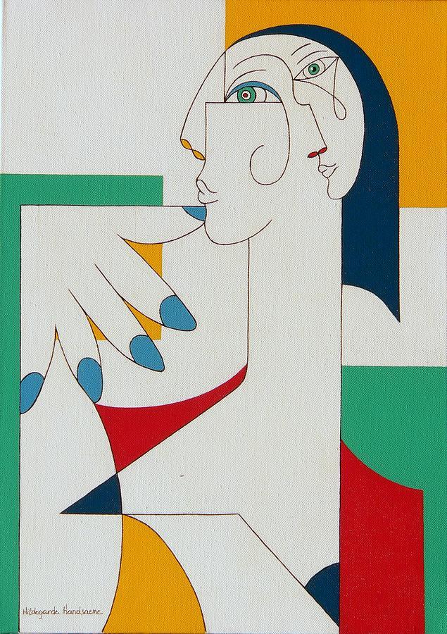 Portrait Painting - 5 Fingers by Hildegarde Handsaeme