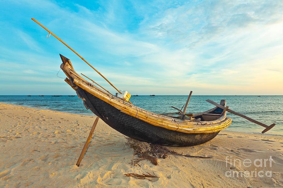 Boat Photograph - Fisherman Boat by MotHaiBaPhoto Prints