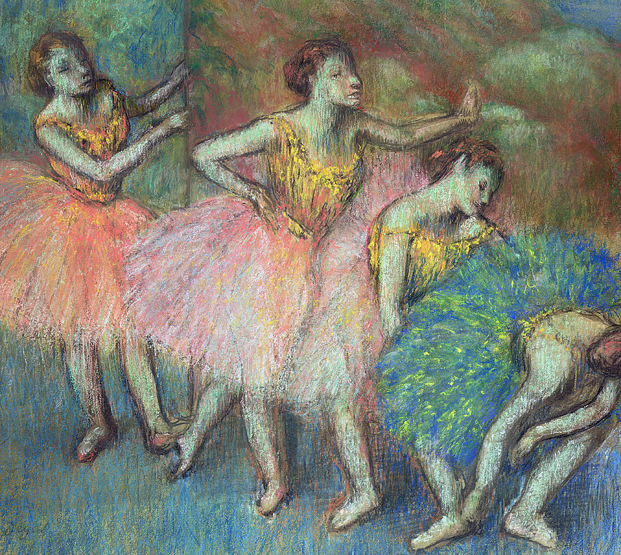 Degas Pastel - Four Dancers by Edgar Degas