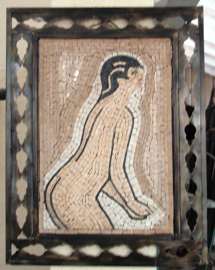 Girl In Stone Mosaic Relief by Petrit Metohu