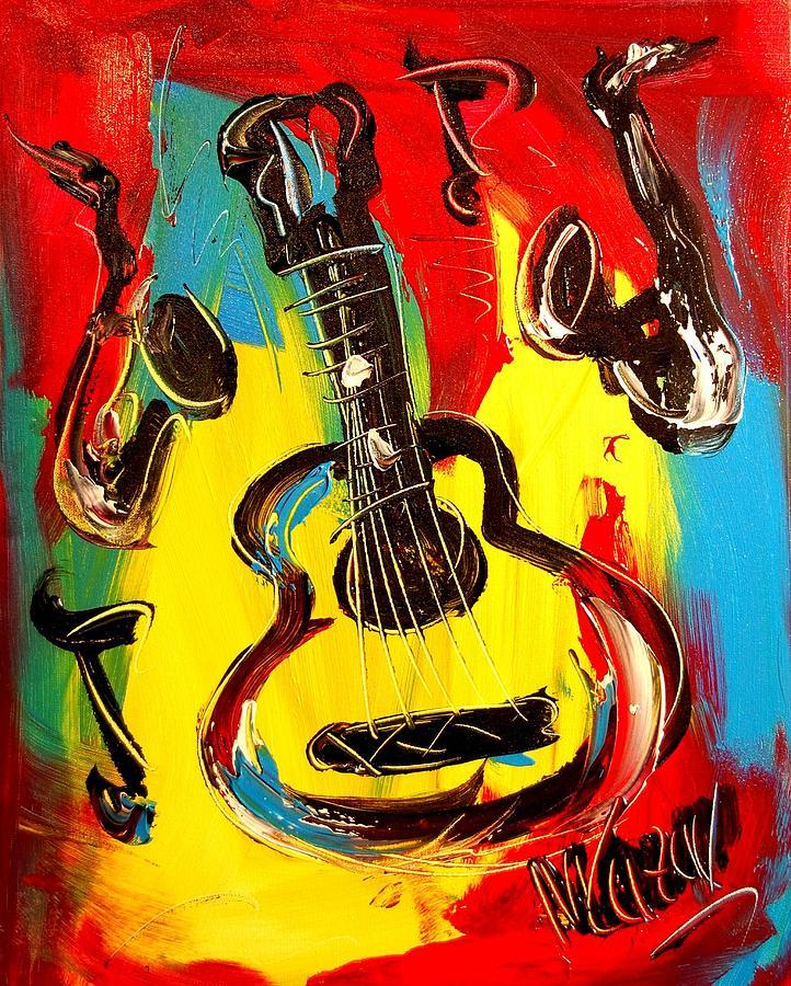 Guitar Painting by Mark Kazav