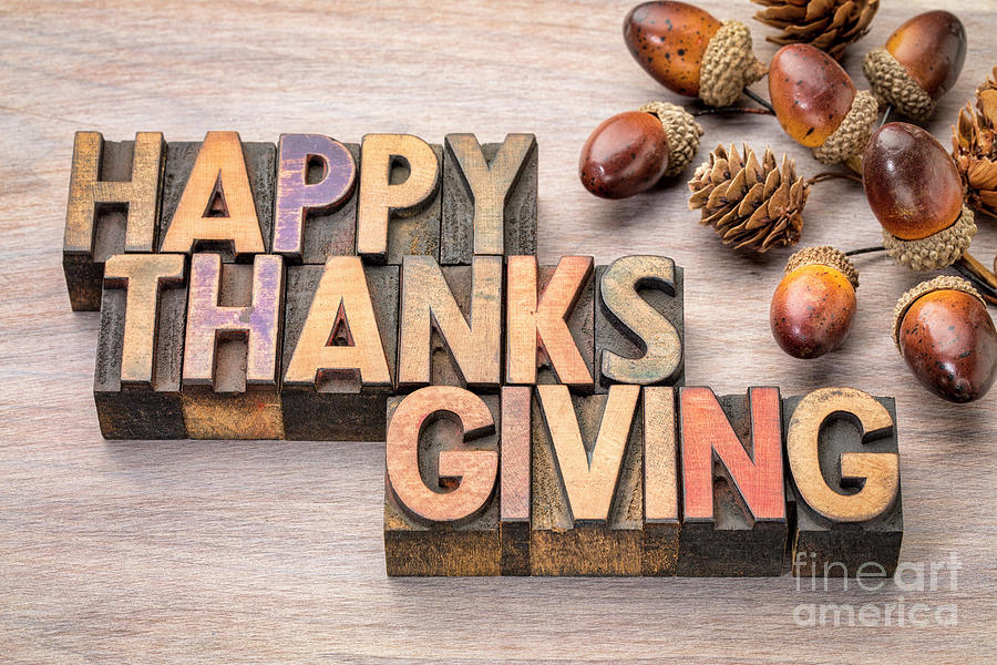 Happy Thanksgiving in wood type by Marek Uliasz