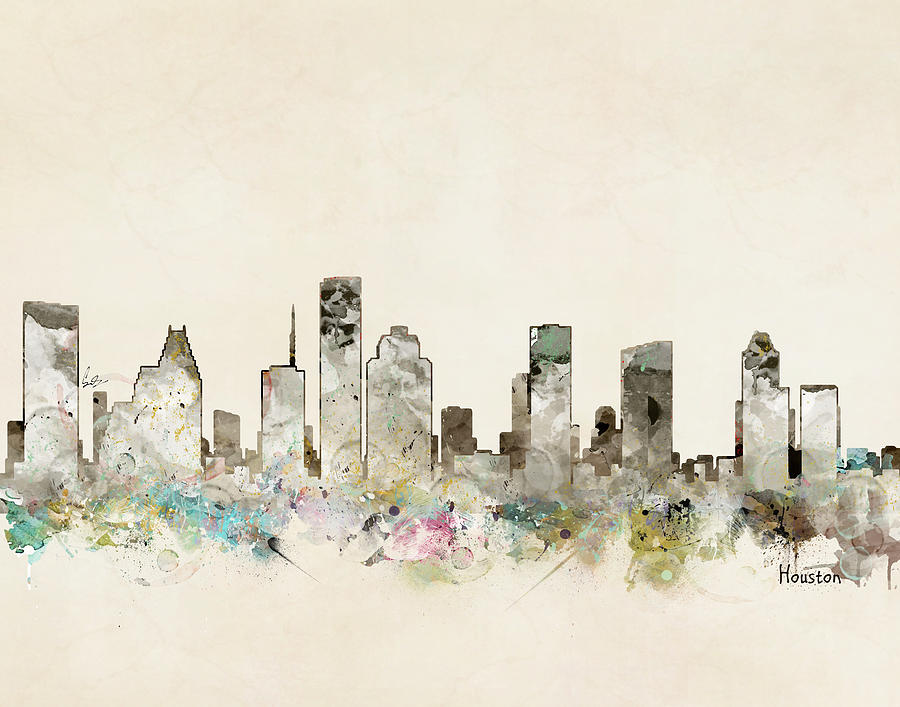 Houston City Skyline Painting - Houston Texas Skyline by Bri Buckley