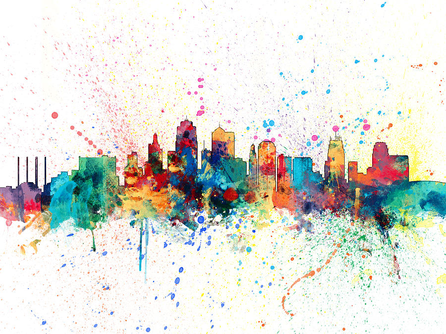 Line Art Ks : Kansas city skyline digital art by michael tompsett