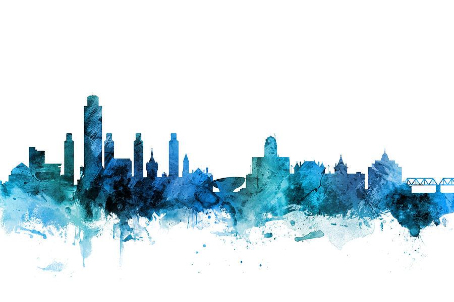 Lincoln Digital Art - Lincoln Nebraska Skyline by Michael Tompsett