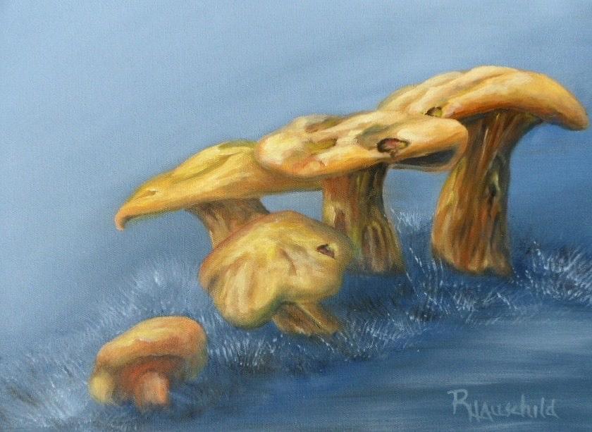 Mushrooms Painting - Five Little Mushrooms by Rebecca Hauschild