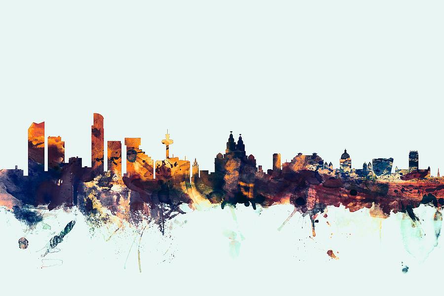 City Digital Art - Liverpool England Skyline by Michael Tompsett