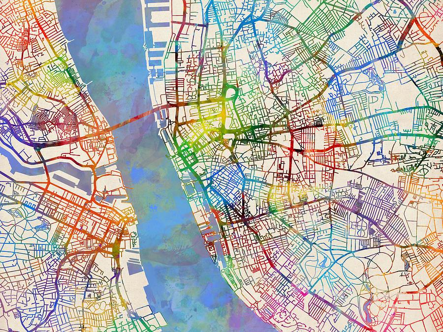 Liverpool England Street Map Digital Art by Michael Tompsett