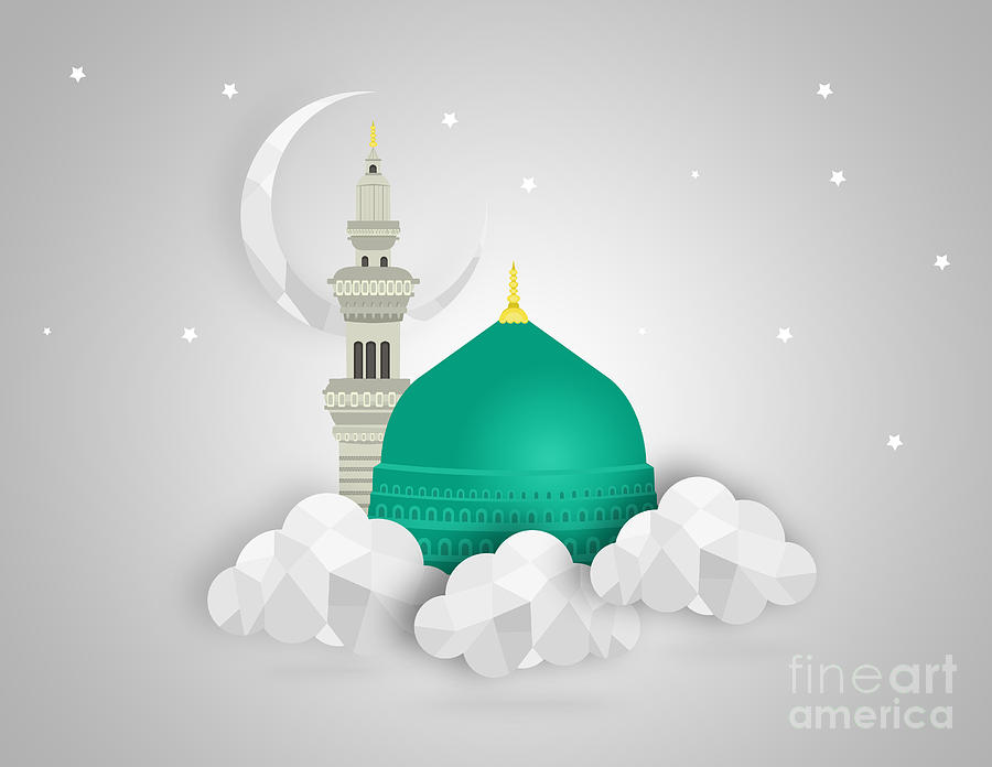 Medina Munawara Mosque Dgital Art - Saudi Arabia Green Dome Of Prophet  Muhammad