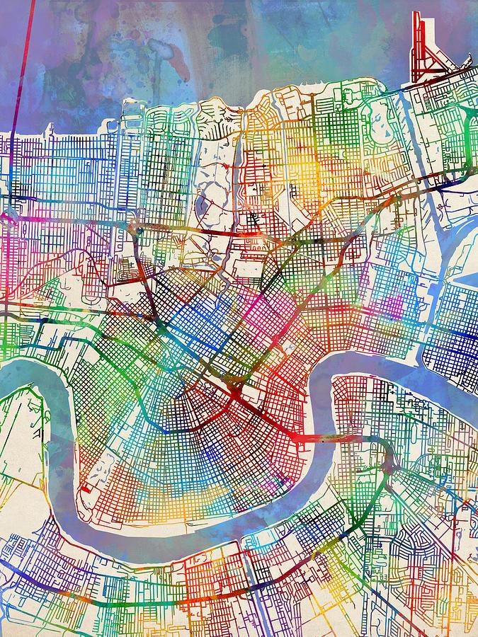 New Orleans Street Map Digital Art by Michael Tompsett