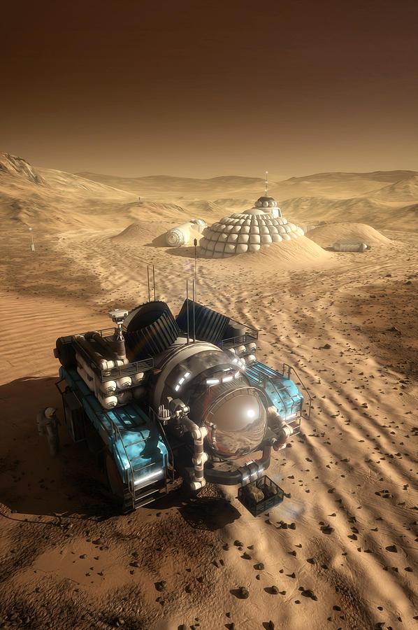 Mars Digital Art - Mars Exploration Vehicle by Bryan Versteeg