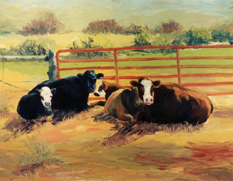 Cows Painting - 5 O Clock Cows by Kim Corpany