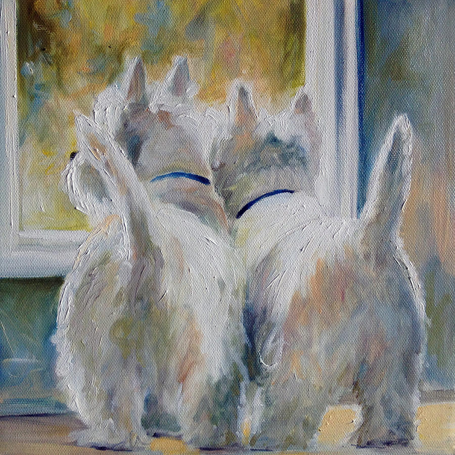 Westies Painting - 5 Oclock by Mary Sparrow