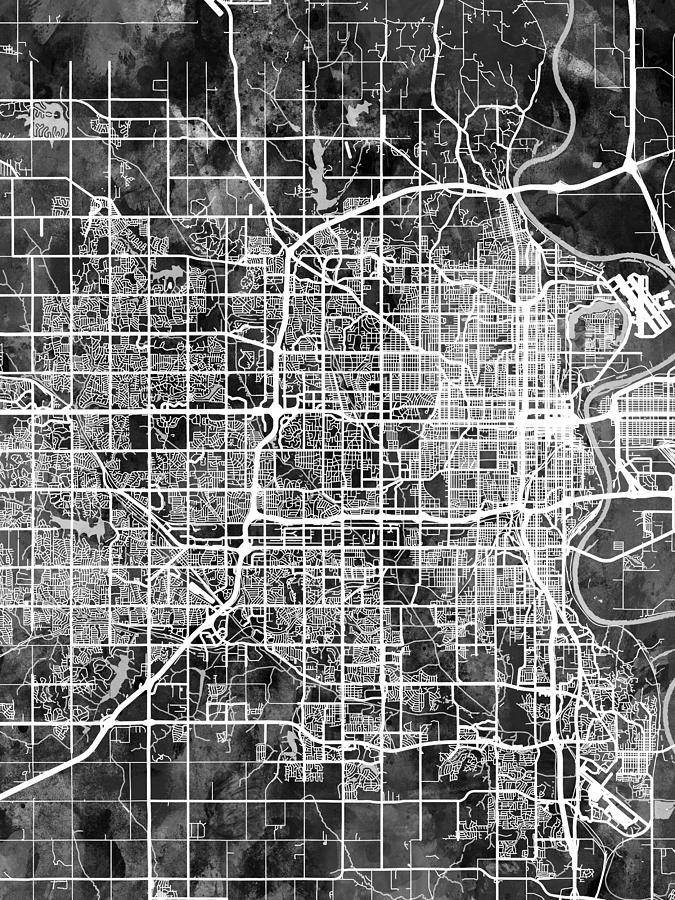 Omaha Digital Art - Omaha Nebraska City Map by Michael Tompsett