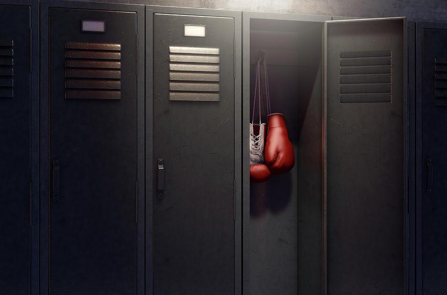 Locker Digital Art - Open Locker And Hung Up Boxing Gloves 5 by Allan Swart