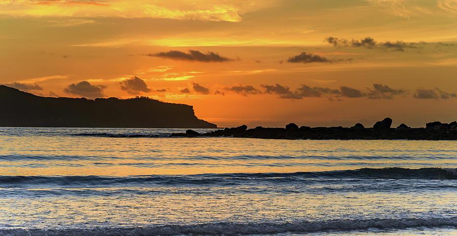 Umina Beach Photograph - Orange Sunrise Seascape by Merrillie Redden