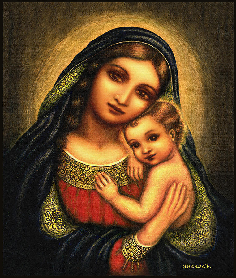 Madonna And Child Mixed Media - Oval Madonna by Ananda Vdovic