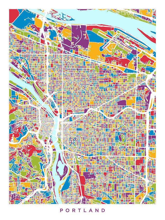 Portland Digital Art - Portland Oregon City Map by Michael Tompsett