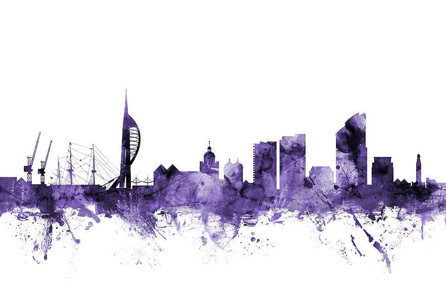 City Digital Art - Portsmouth England Skyline by Michael Tompsett