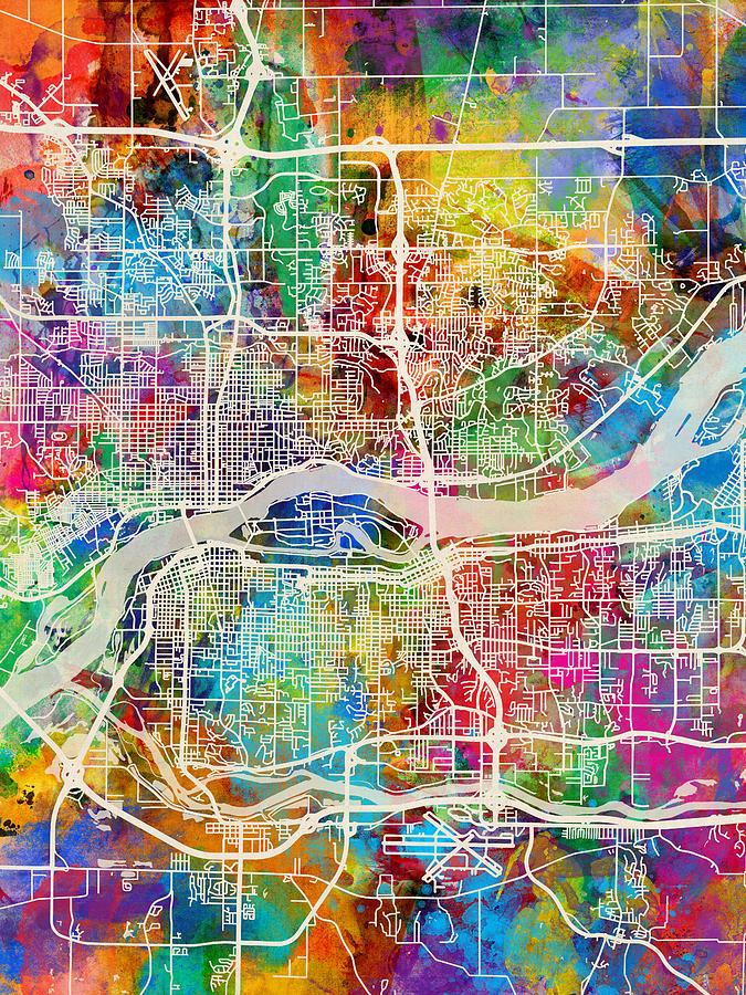 Quad Cities Street Map Digital Art by Michael Tompsett on