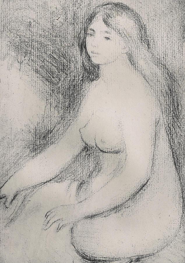 Renoir Drawing - Seated Bather by Pierre Auguste Renoir