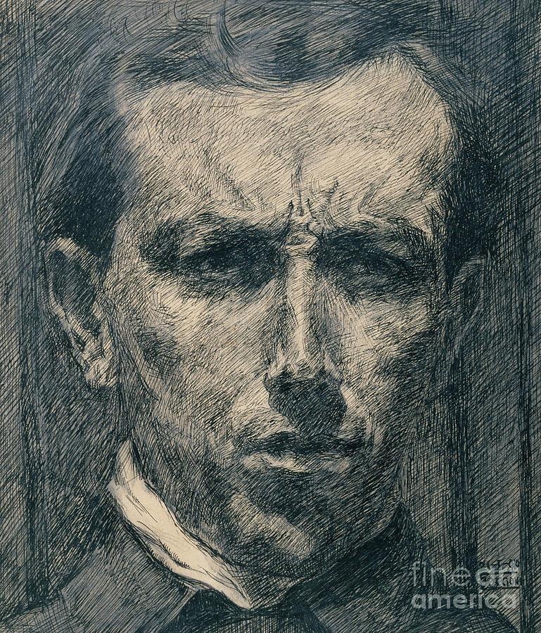 Boccioni Drawing - Self Portrait by Umberto Boccioni